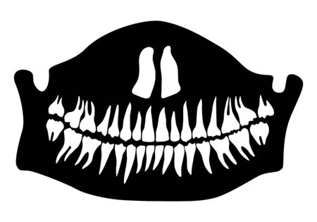 Halloween Half death mask with lower jaw and teeth. Vector illustration