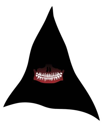 Halloween Mask of death in a black hood with a lower jaw and teeth. Vector illustration Stock Illustratie