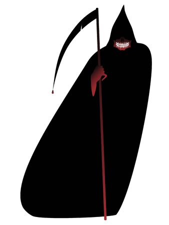 Halloween Mask of death in a black cloak and with a bloody scythe. Vector illustration