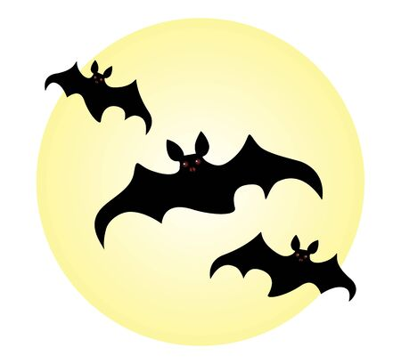 Halloween flock of bats with burning eyes on the background of the moon. Vector illustration