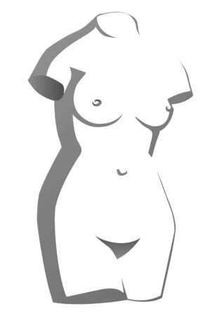 Sculpture Torso of Venus (Aphrodite) antique goddess of  love. Illustration on white background.