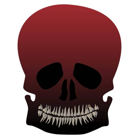 Halloween skull death mask with lower jaw and teeth. Vector illustration