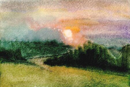Etude Rural landscape. Red misty sunset. Field, forest, sky. Watercolor drawing. Stockfoto