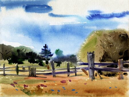Etude Rural landscape with hay stack. Field, sky, fence. Watercolor drawing.