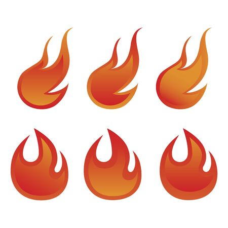 Fire flame burning template set. Vector illustration