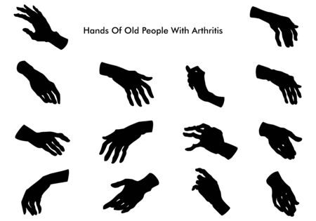 Hands of old people with arthritis. Silhouette. Vector illustration Vectores