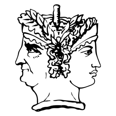 Two-faced Janus. Young Woman and Old Woman heads in profile, connected by the nape. Stylization of the ancient Roman style. Graphical design. Vector illustration.