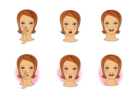 Breathing exercises for colds, runny nose and sore throat. Head of a girl with a breathing nose or mouth for treatment Stock Photo