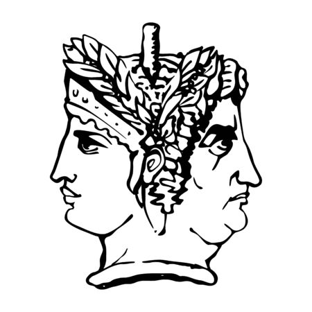 Two-faced Janus. Young Woman and Old Woman heads in profile, connected by the nape. Stylization of the ancient Roman style. Graphical design. Illustration.