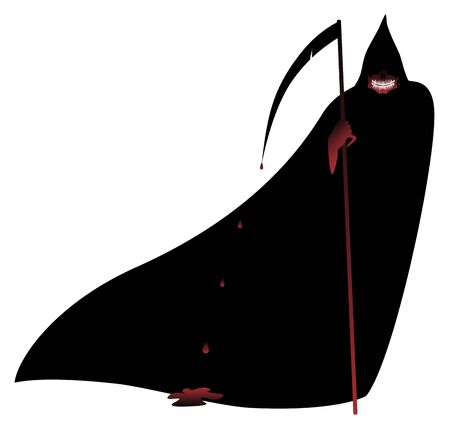 Halloween Mask of death in a black cloak and with a bloody scythe. Illustration