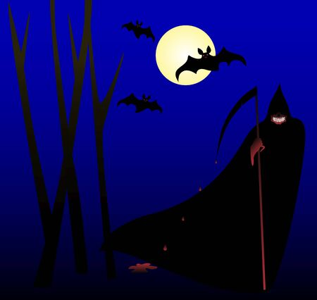 Halloween Mask of death in a black cloak and with a bloody scythe in the forest, moon and bats. Illustration