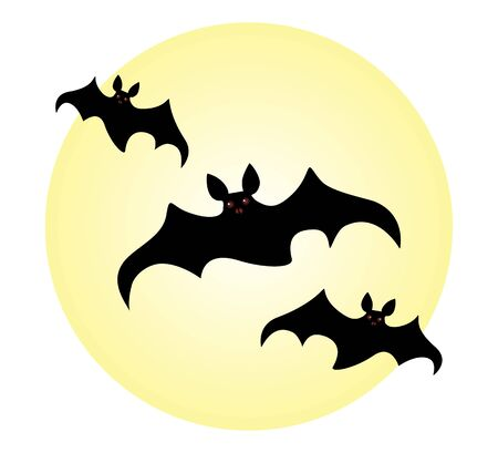 Halloween flock of bats with burning eyes on the background of the moon. Illustration