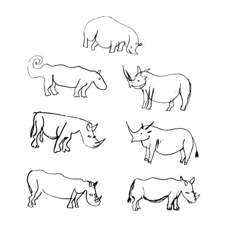 Set of primitive images of animals rhino and hippo. Cave drawings. Naive art. Illustration