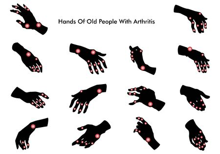Hands of old people with arthritis. Silhouette. Illustration