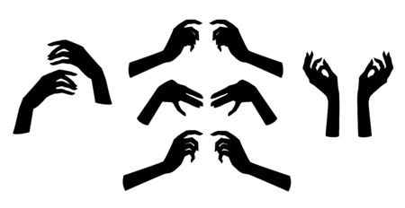 5 pairs of beautiful female hands. Silhouette. Illustration