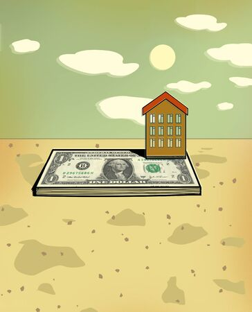 Small house on the foundation of a bundle of dollar bills. Mortgage. Down payment. Illustration. 스톡 콘텐츠