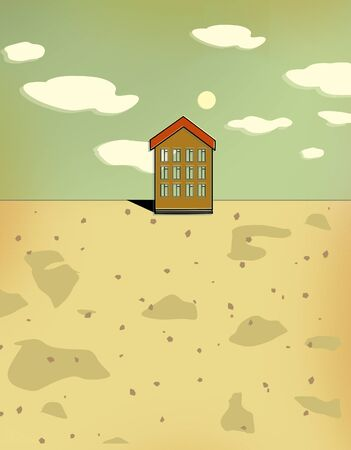 Small desert house on a bright sunny day. Mortgage. Illustration.