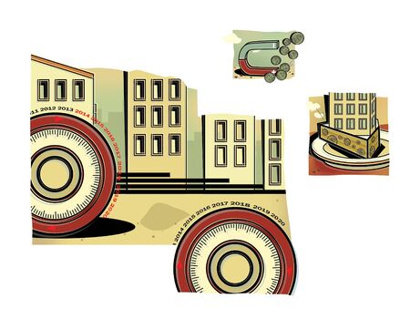 Set of illustrations on the theme of the crisis in the construction industry. Mortgage. Financial crisis. Illustration.