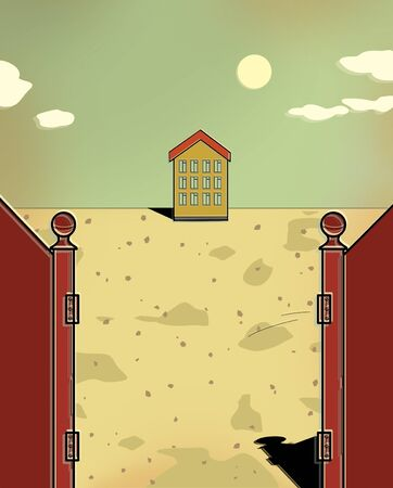 Small house behind the gates in the desert on a bright sunny day. Mortgage. Illustration. Stockfoto