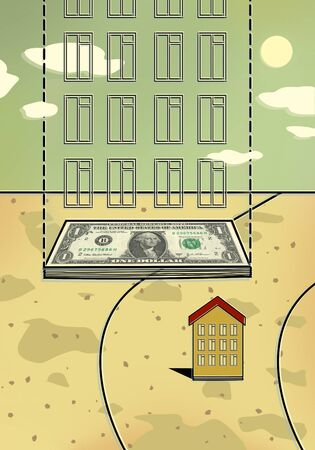 Small house and a ghostly new house on the foundation of a bundle of dollar bills. Mortgage. Down payment. Illustration. 스톡 콘텐츠