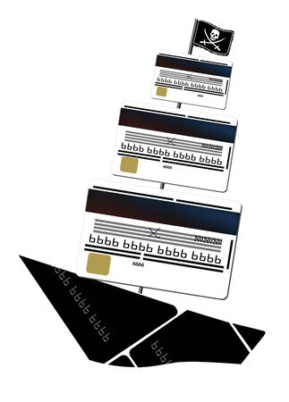 Bank piracy. Sailing ship in Jolly Roger on the mast and sails from bank cards. Illustration  isolated on a white background.