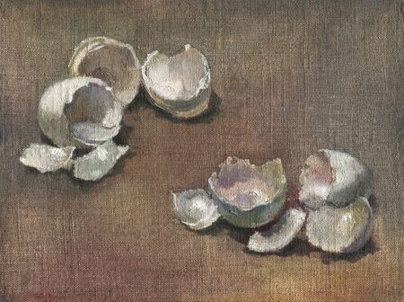 Egg shells and broken eggs. Oil painting on canvas