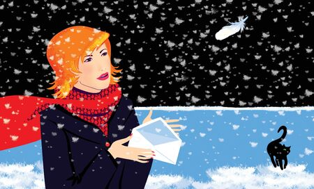Girl with an open envelope in her hands under the falling snow. Snow made of bird feathers. New year mood