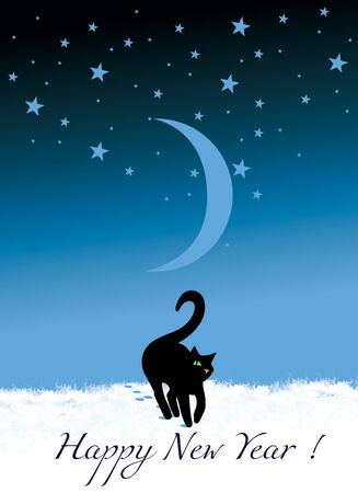 Black one-eyed cat walks on freshly fallen snow on the floor with a young moon and a starry sky. New Year greeting card