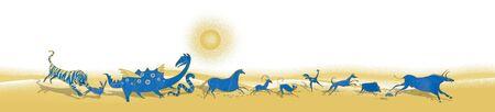 12 Chinese zodiac signs design. Running stylized animals of the primitive ancient world. Standard-Bild - 134733498