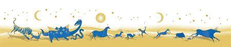 12 Chinese zodiac signs design. Running stylized animals of the primitive ancient world. Standard-Bild - 134733499