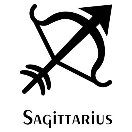 Arrow and Bow, Sign of Sagittarius. Logo. Vector silhouette image. Çizim