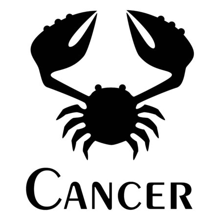 Cancer, zodiac sign. Logo. Tattoo. Vector silhouette image.