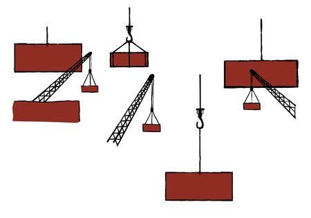 Cranes and loads. Fragments of construction equipment. Humor. Stylization. Illustration. Standard-Bild - 134638874
