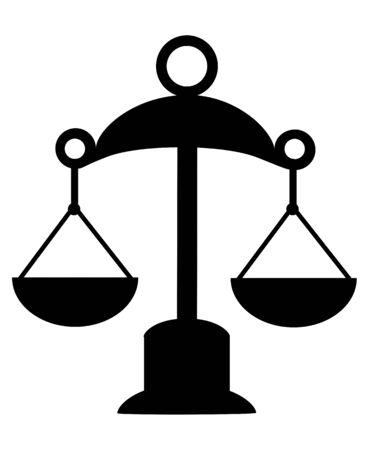 Scales with two bowls. Libra Zodiac. Justice. Sign. Icon  Image. Stock Photo