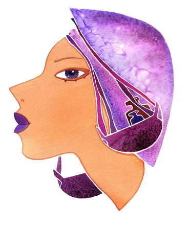 Face girl as astrology symbol Libra on white background
