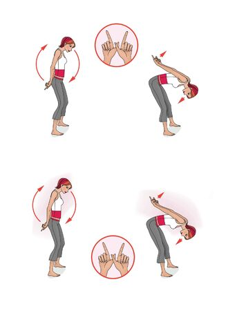 Japanese-style exercises. Girl in training. Stretching muscles and balance, leaning forward. Isolated on white and gray background.