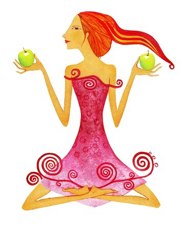 Young barefoot woman with red hair in a pink dress with green apple as a symbol of the zodiac sign Libra.  Isolated on white background