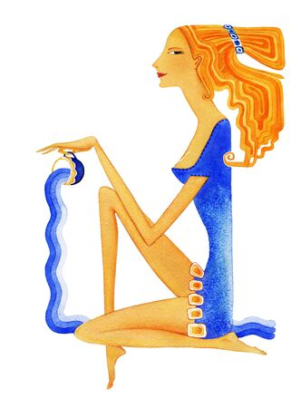Young barefoot woman with red hair in a blue dress pours water from a cup as a symbol of the zodiac sign Aquarius. On white background