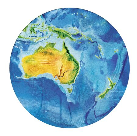 Geographical map of the world. Fragment Asia, Indonesia Australia, Oceania, in a round shape. Realistic watercolor drawing.