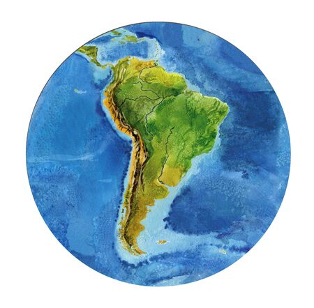 Geographical map of the world. Fragment of South America, in a round shape. Realistic watercolor drawing. Stok Fotoğraf