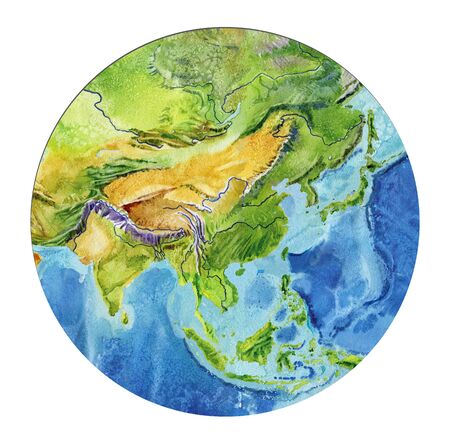 Geographical map of the world. Fragment Asia, Indonesia, India, China, in a round shape. Realistic watercolor drawing. Stok Fotoğraf