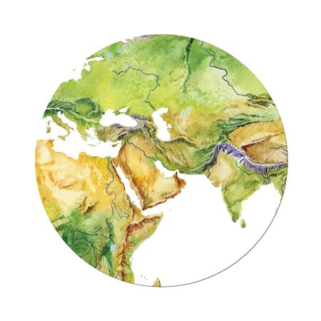 Geographical map of the world. Fragment of Africa, Asia, Europe, Arabian Peninsula, in the round shape. Realistic watercolor drawing.