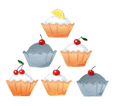 Set of biscuit cakes with lemon and cherry, isolated on a white background