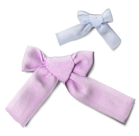Simple bow made of craft rep ribbon. 3d render. Isolated on a white background. Stok Fotoğraf