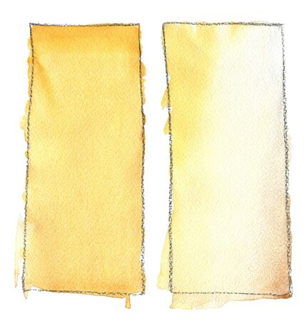 Abstract watercolor rectangle blot for background. Rectangle watercolor fill color with black outline. Gradient, paper texture. For the background. Stok Fotoğraf