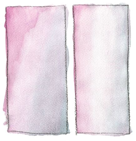 Rectangle watercolor fill color with black outline. Gradient, paper texture. For the background. Stok Fotoğraf