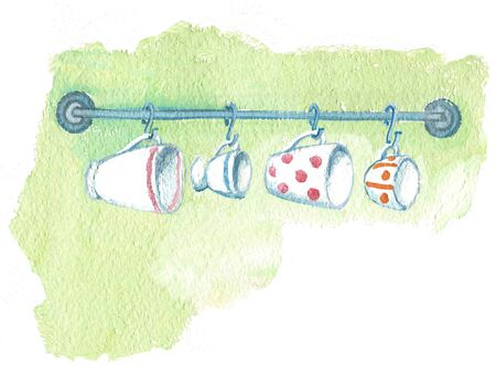 Kitchen railing with cups hanging on. Humorous illustration in gouache.