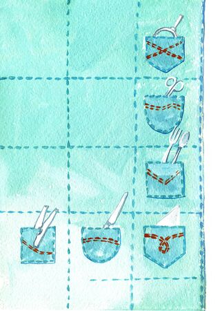 Kitchen organizer from pockets from old jeans. Humorous illustration in gouache. Stok Fotoğraf