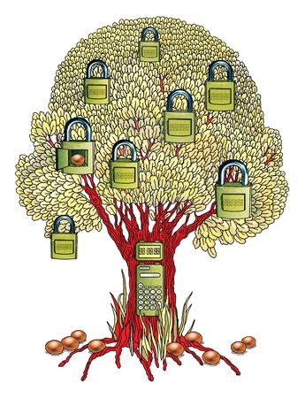 Fantastic tree as a symbol of a bank cell. A tree with padlocks. Isolated on a white background. Stok Fotoğraf