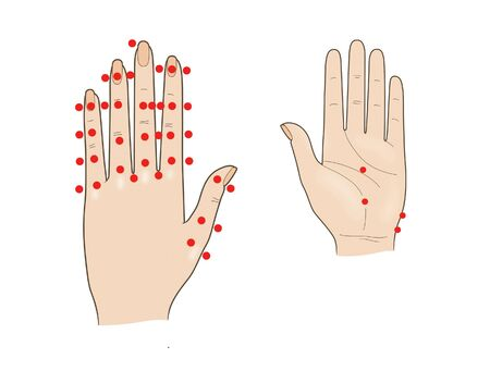 Acupuncture hand massage. Shiatsu. Active points. Isolated on a white background.